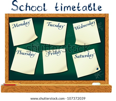 Schedule for the student in the form of board training and stickers with space for notes