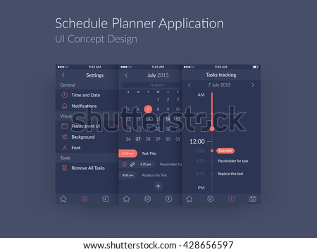 Schedule Planner Application UI Concept, Vector EPS10 Illustration