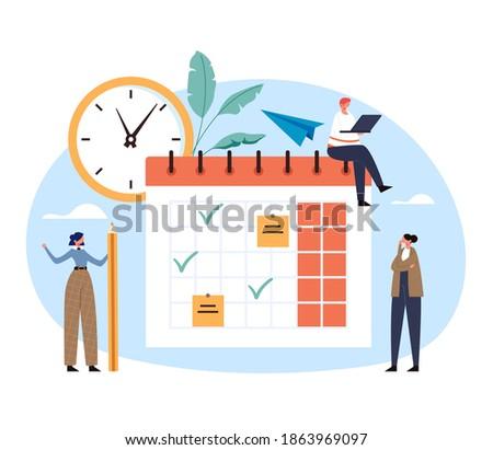 Schedule planning organizer deadline daily calendar checklist organization deadline concept. Vector flat graphic design illustration Foto stock ©