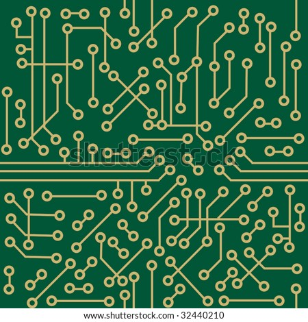 Schematic diagram for an electronic circuit board in a seamless pattern, vector illustration