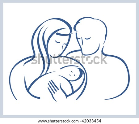Schematic illustration.Happy family with the newborn child