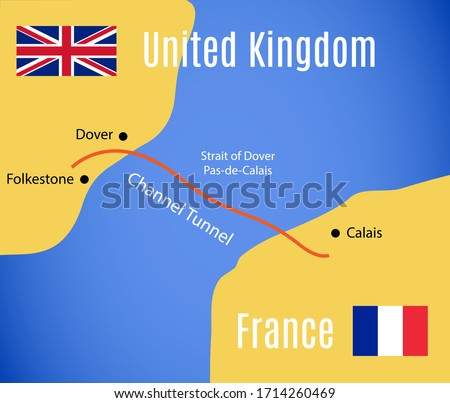 Schematic map of the Eurotunnel (Channel Tunnel). Vector. ストックフォト ©