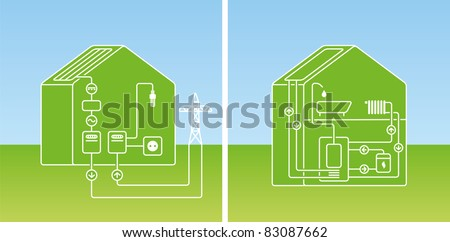 schematic representation of photovoltaic and solar thermal on a house