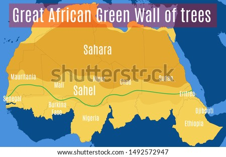 Schematic vector map of the Great African Green Wall of the Sahara and the Sahel.