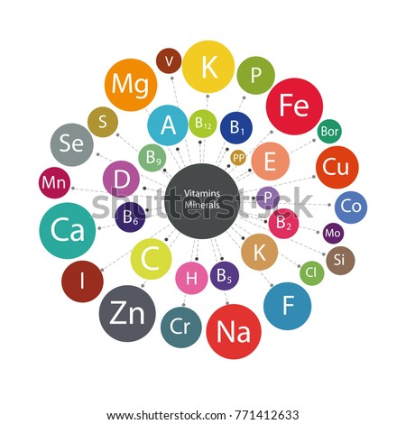 """Scheme """"All vitamins and minerals for human health."""" Micro and macro elements and vitamins in a circular scheme. The basis of a healthy diet."""