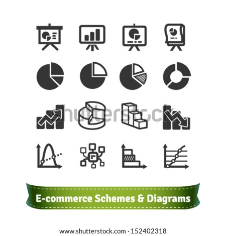 Scheme and Diagram Icons for Presentation in E-commerce Statistics Finance and Business Areas