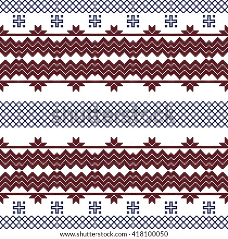scheme for embroidery Nordic winter pattern, made of round pixels. Vector illustration. For the design, printing, textile industry. Red and blue color