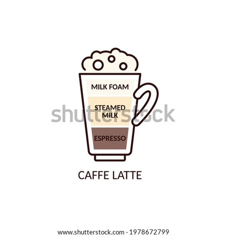 Scheme icon of Caffe Latte mixed coffee drink with layers of espresso and milk, cartoon vector illustration isolated on white background. Hot beverage sign for cafe. Foto d'archivio ©