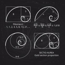 Scheme of golden ratio section, fibonacci spiral on blackboard vector illustration. Geometric harmony, spiral line