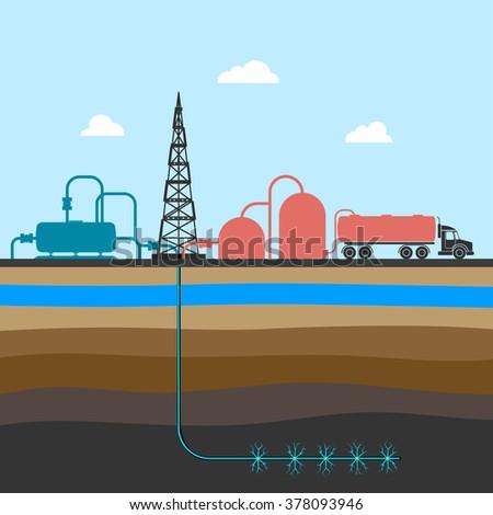 scheme of mining shale fossil vector illustration