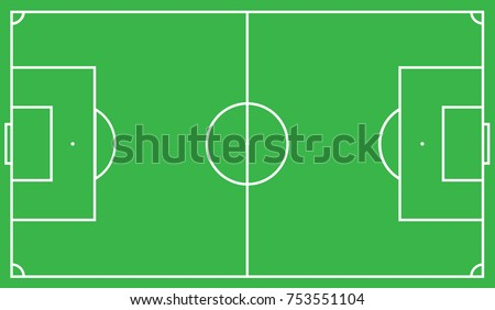 Scheme of the football field of green color, look from above. Vector illustration eps 10.
