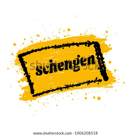 schengen area yellow brush sign