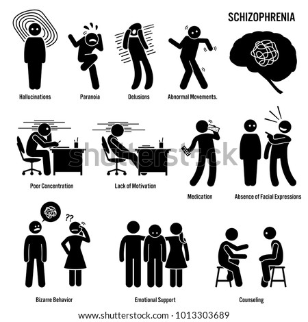 Schizophrenia Chronic Brain Disorder Icons. Pictograms showing signs, symptoms, and treatment of schizophrenia brain disorder disease.