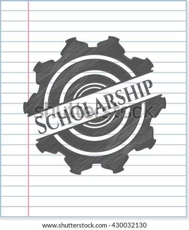 Scholarship emblem drawn in pencil