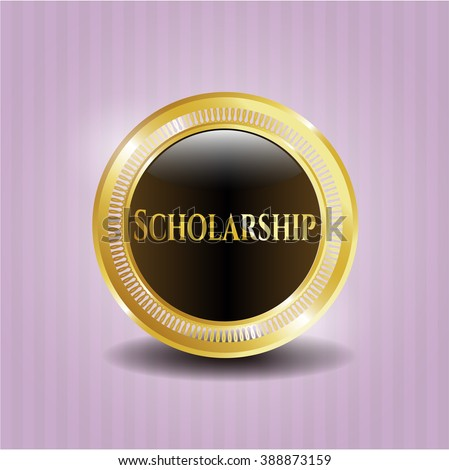 Scholarship golden emblem or badge