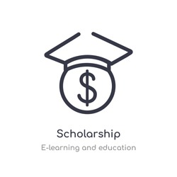 scholarship outline icon. isolated line vector illustration from e-learning and education collection. editable thin stroke scholarship icon on white background