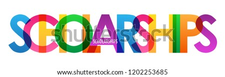 SCHOLARSHIPS rainbow letters banner
