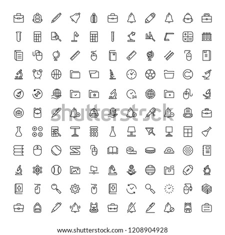 School accessories icon set. Collection of high quality black outline logo for web site design and mobile apps. Vector illustration on a white background.