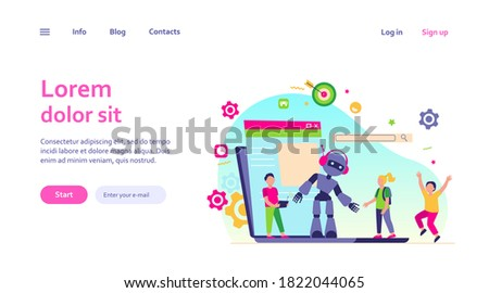 School activity and robotics class concept. Boy operating robot with remote control. Vector illustration for young engineer, education, robotic science for kids topics Foto stock ©