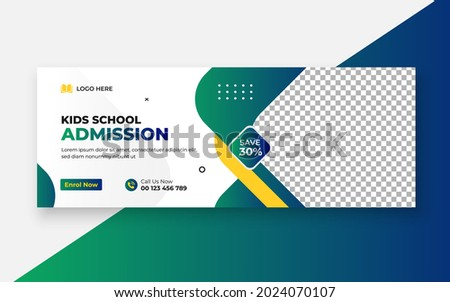 School Admission Facebook Cover and Web Banner Template, Back to School Social Media Cover Template