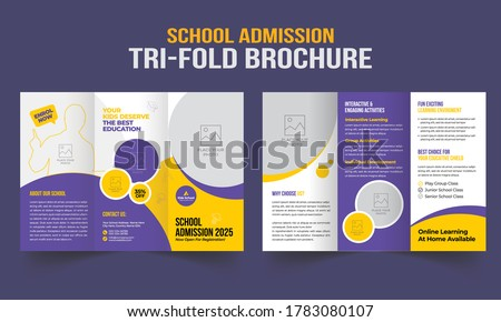School admission tri-fold brochure template. Kids back to school education brochure cover a4 size layout Foto stock ©