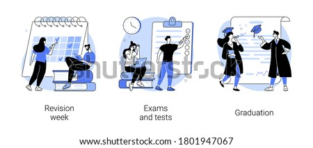 School and college activity abstract concept vector illustration set. Revision week, exams and tests, graduation, exam timetable, stress and anxiety, academic degree, form sheet abstract metaphor.