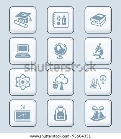 School and college education objects; tools and science symbols
