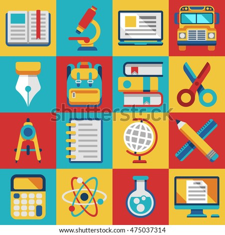 School and college education study teaching learning modern flat icons