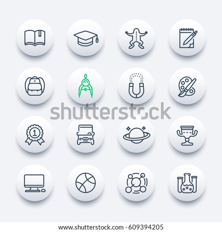 school and college icons set, linear style, education, computer class, astronomy, physics, biology, geometry, chemistry, arts, graduation