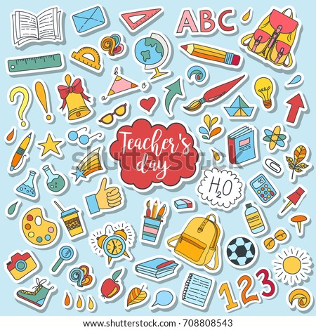 School and education doodles hand drawn vector symbols and objects. Colorful sticker style drawings. Teacher's day