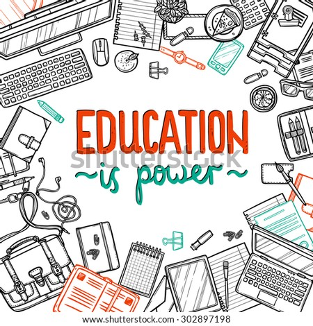 school and education hand drawn