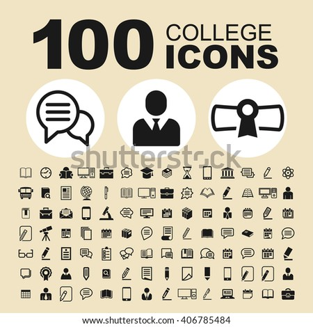 School and education icons. College pictogram. Learning vector graphic. Study design collection.