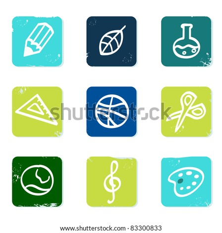 School and education icons set & elements isolated on white Vector hand drawn icons blocks collection - blue and green.
