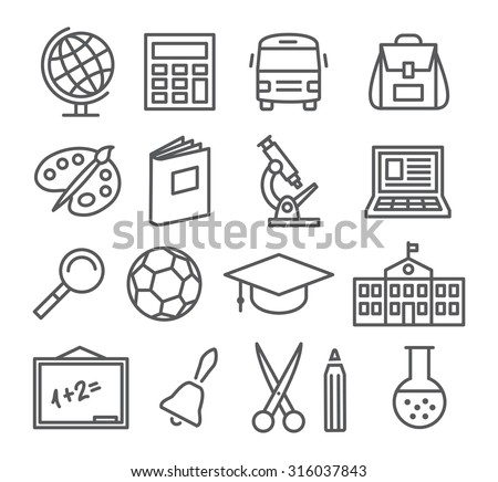 School and Education Line Icons