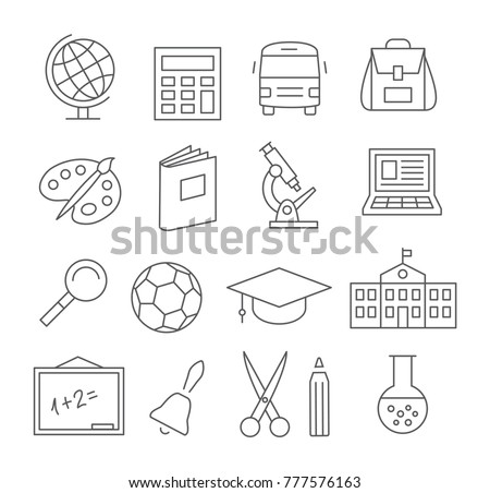 School and Education Line Icons on white background