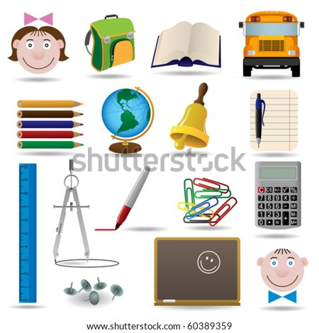 School and education vector icon set