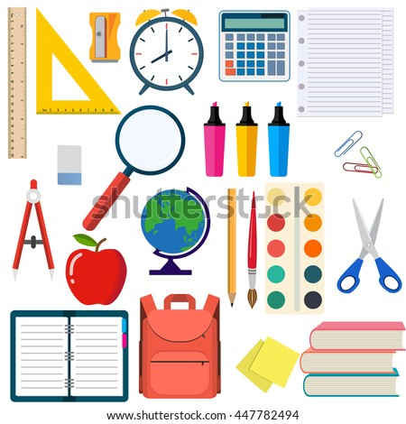 School and education workplace items. Vector flat illustration of school supplies. Isolated school, education workspace accessories on white background. Infographic elements for web, presentation. Foto stock ©