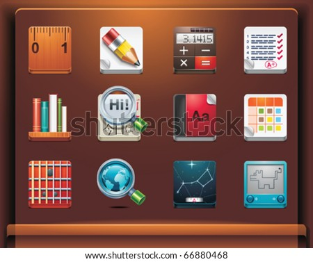 School and educational apps. Mobile devices apps/services icons. Part 12 of 12