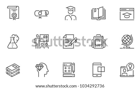 School and University Vector Flat Line Icons Set. Study, Learning, Knowledge, Chemistry, Globe, Classroom, Auditorium. Editable Stroke. 48x48 Pixel Perfect.