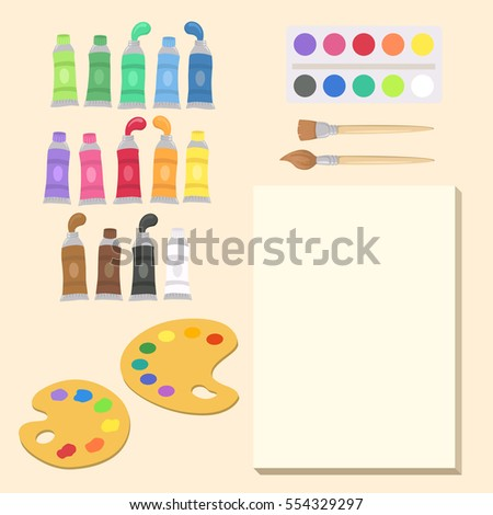 school art supplies set vector