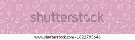 School background. Seamless pattern with doodles. Vector