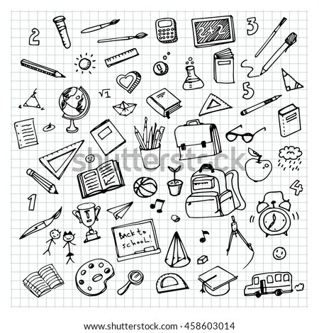 School background with hand drawn school supplies. Back to school. Freehand drawing school items on a sheet of exercise book.
