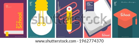 School backgrounds. Book, lamp, drawing pencil, graduation cap. Set of flat, vector illustrations. Back to School. Elements and objects on school themes, simple background for poster, cover, flyer.