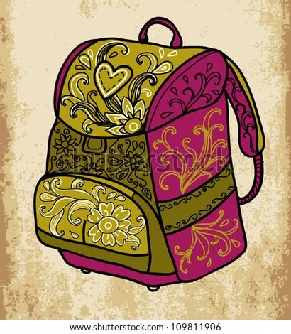 School backpack - stock vector