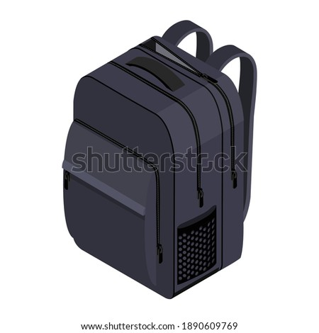 School Backpack. Backpack for schoolchildren, students, travellers and tourists. Back to School rucksack vector illustrations isolated on white. Stockfoto ©