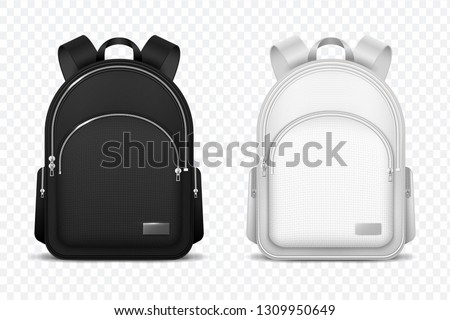 School backpack. Black and white rucksack. Front view travel bag. 3d vector mockup isolated Foto stock ©