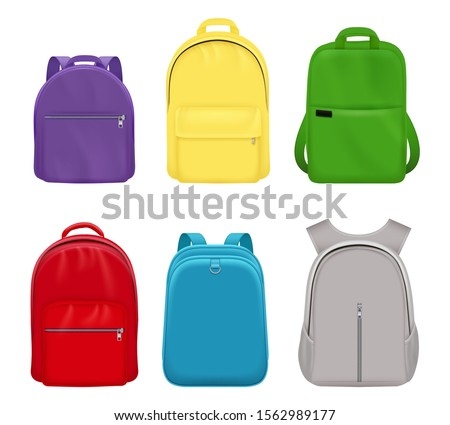 School backpack. College realistic students handy items luggage travel vector collection front side Stock foto ©