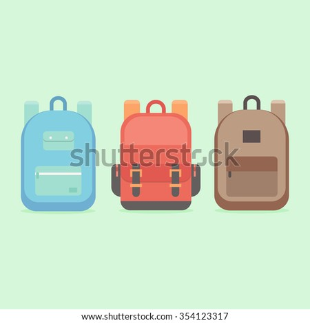 School backpack in a flat style. Kids backpack on a colored background. Set youth backpacks. Child backpack vector illustration flat.