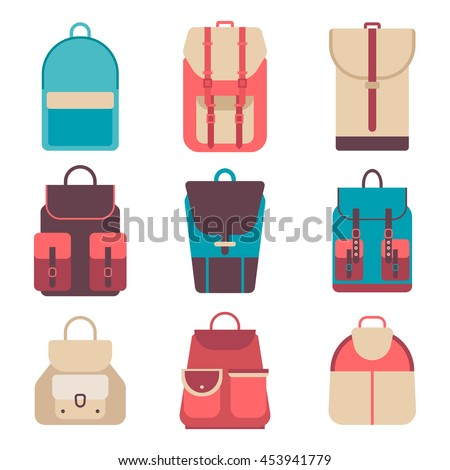 School backpack in flat style. Bag icons kids backpack on a isolated background. Set youth backpacks. Child backpack, travel hiking, tourism and luggage. Vector illustration collections.