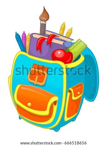 School backpack, school bag, vector cartoon illustration